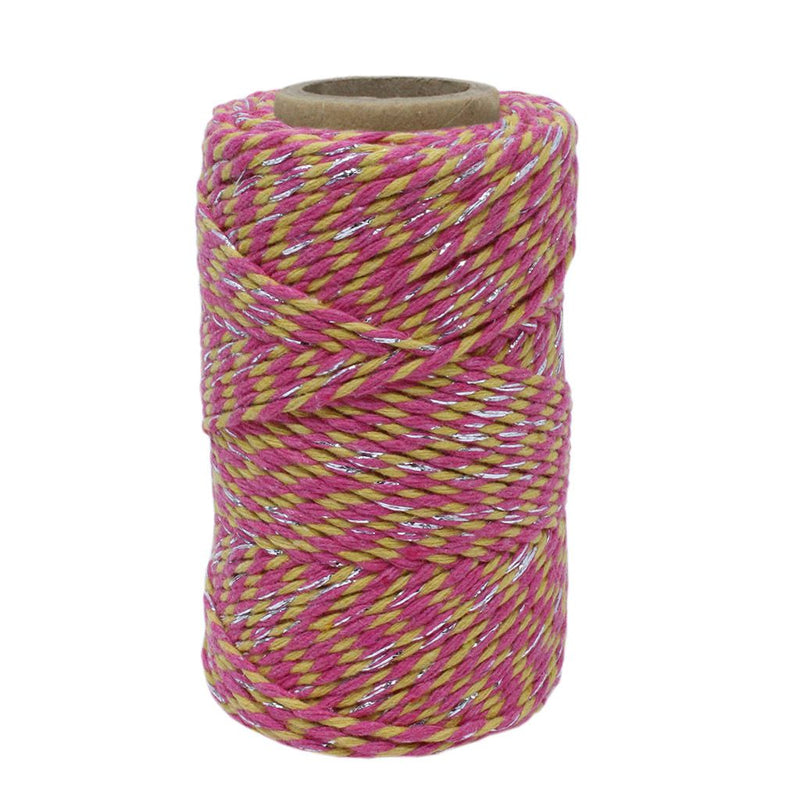 Yellow, Pink & Silver Sparkle No.6 Cotton Craft Twine