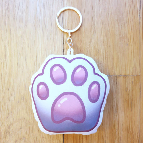 Cute Cat Paw Pillow Charm Keychain (White)