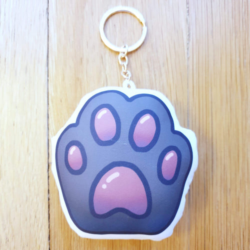 Cute Cat Paw Pillow Charm Keychain (Black)