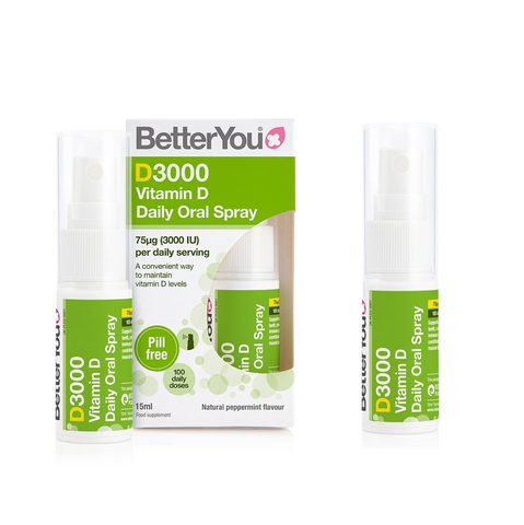 BetterYou D3000 Vitamin D Daily Oral Spray - 2x15 ml