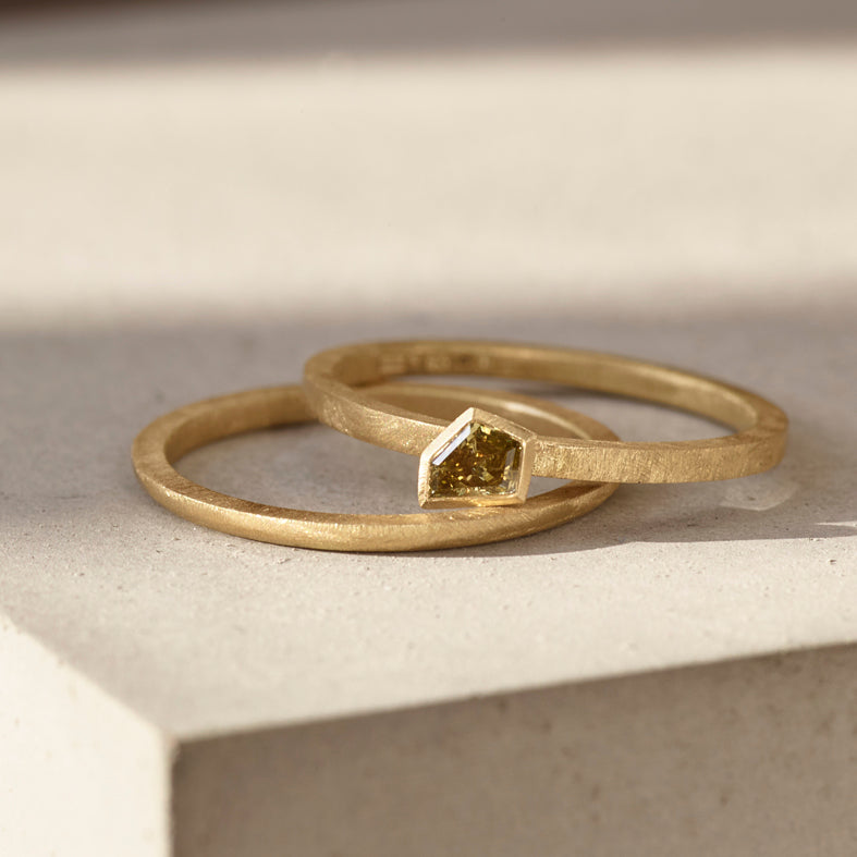 One Off Asymmetric Olive Green Diamond Ring