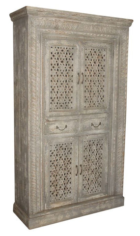 Antique Jali Window Cabinet
