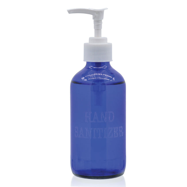8 oz Glass Bottle with Pump - Cobalt (Empty)
