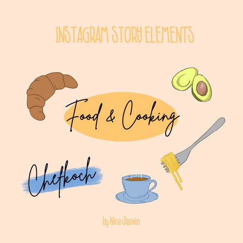 Instagram Story Elements - FOOD BLACK (78 Elemente)