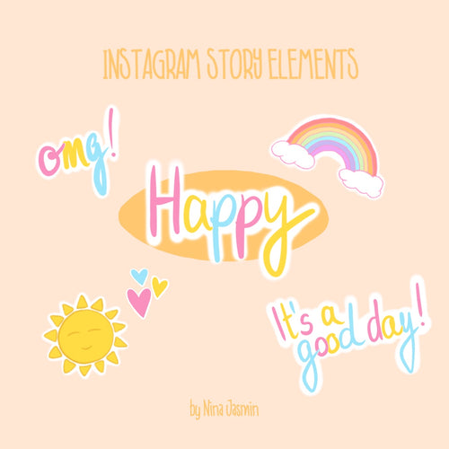 Instagram Story Elements - HAPPY (80 Elemente)