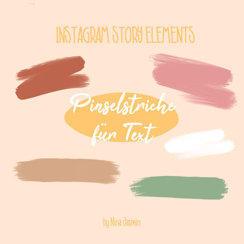 Instagram Story Elements- PINSELSTRICHE FÜR TEXT (44 Elemente)