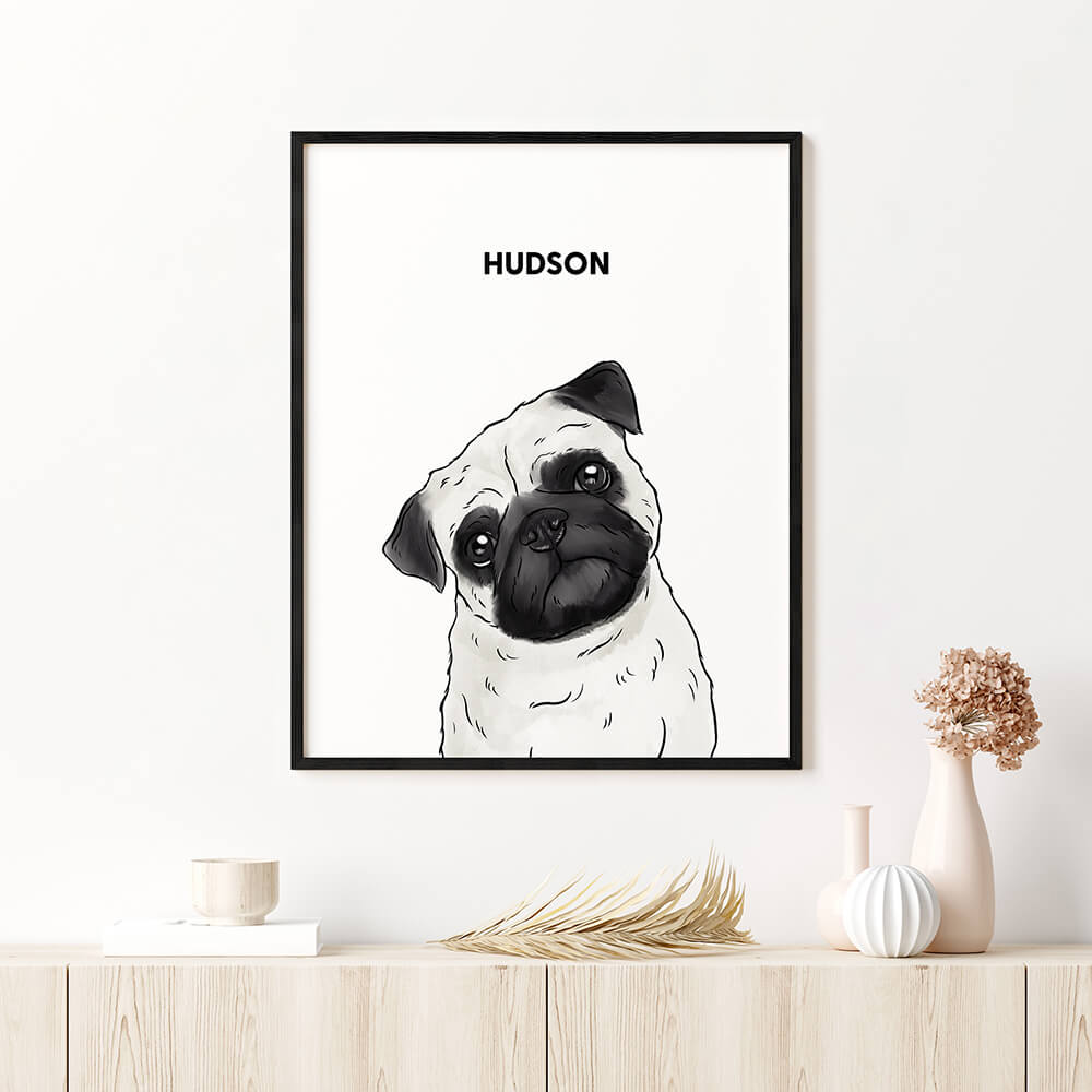 Custom One Pet Framed Portrait