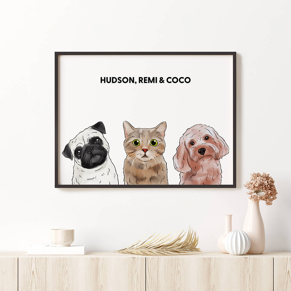 Custom Three Pet Framed Portrait