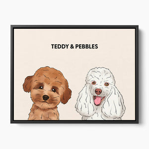 Custom Two Pet Canvas Portrait