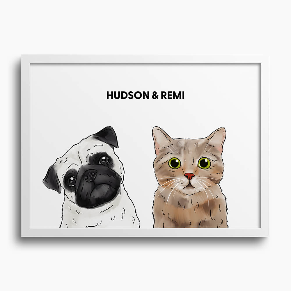 Custom Two Pet Framed Portrait