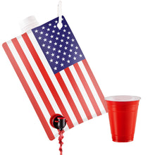 Load image into Gallery viewer, American Flag Flask for Liquor, Wine, Drinks: Beverage Dispenser Holds 2 Liters for Summer, July 4, Sports Tailgating, Birthday, Graduation, Cruises, Boating, BBQ Parties, by Party Flasks