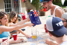 Load image into Gallery viewer, Australian Flag Adult Party Flask: 2 liter Flasks Make the Perfect Drink Dispenser for Your Australia Day Party Supplies, Summer Beach or Pool Party, Soccer, Cricket, or Football Tailgating and More
