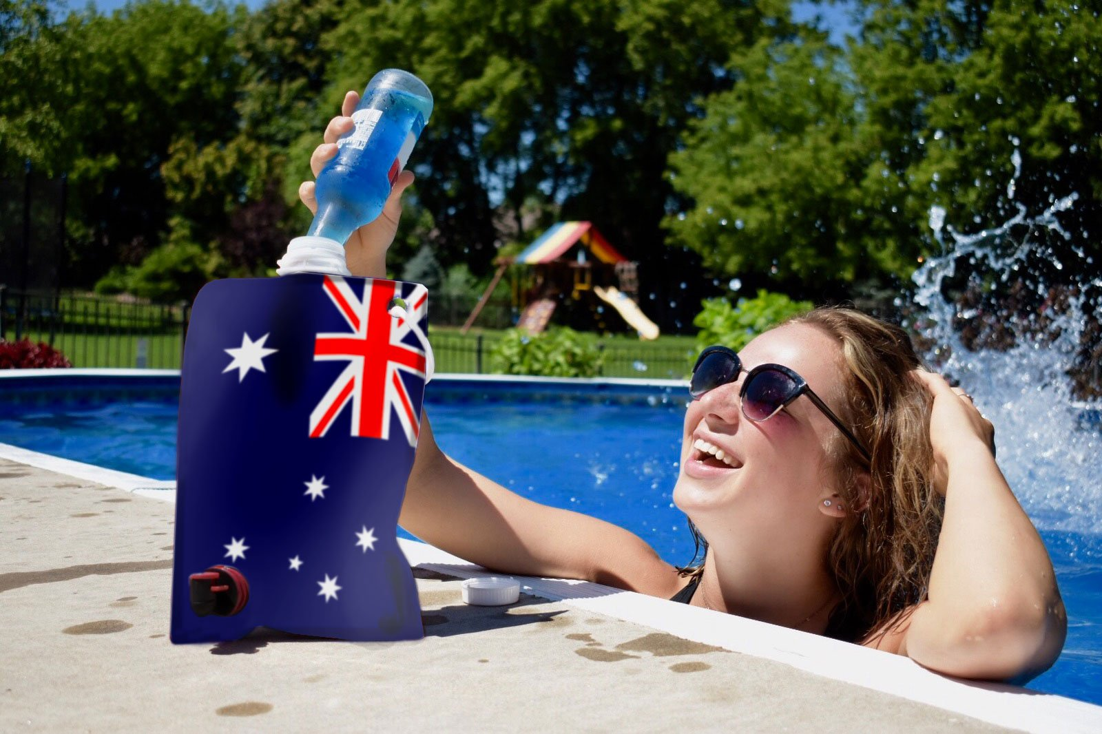Australian Flag Adult Party Flask: 2 liter Flasks Make the Perfect Drink Dispenser for Your Australia Day Party Supplies, Summer Beach or Pool Party, Soccer, Cricket, or Football Tailgating and More