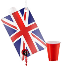 Load image into Gallery viewer, Union Jack Flag Party Flask: 2 liter British Flag Flasks Make the Perfect Drink Dispenser for Your St Georges Day or Guy Fawkes,Bonfire Night Party Supplies,Football, Cricket,or Rugby Parties and More