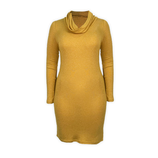Camie Mama Cowl Neck Long Sleeves Dress