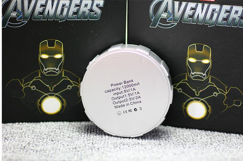 2019 Cool Iron Man nuclear reactor power bank 12000mah Avengers Powerbank Charger with Package For Mobile Phone