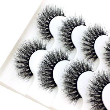 2019 NEW 5 Pairs 3D Mink Hair False Eyelashes Natural/Thick Long Eye Lashes Wispy Makeup Beauty Extension Tools Wimpers