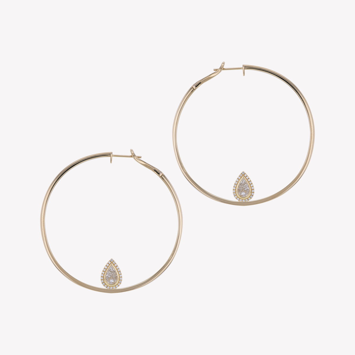 Yellow Gold Hoops with Pear Cluster Add-on
