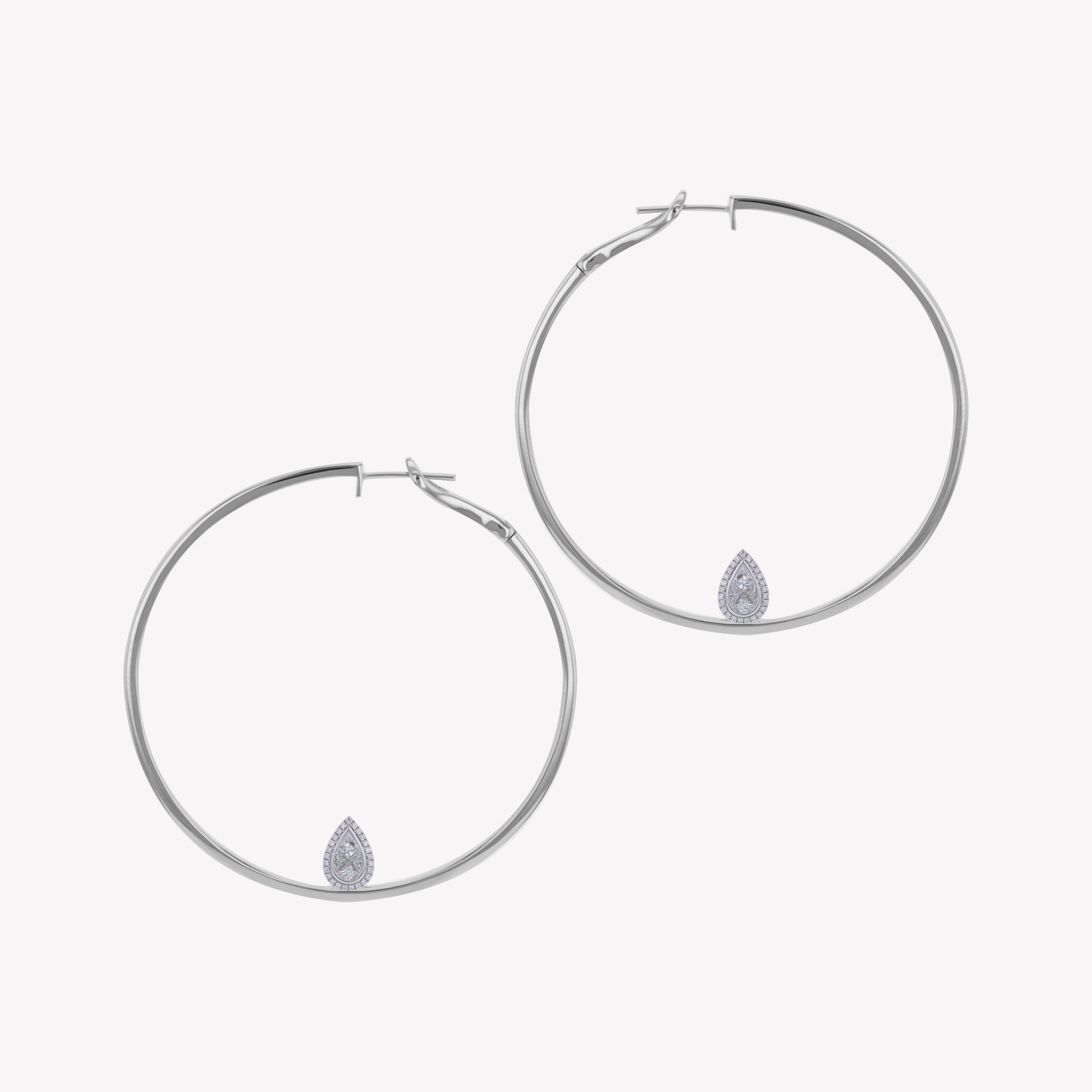 White Gold Hoops with Pear Cluster Add-on