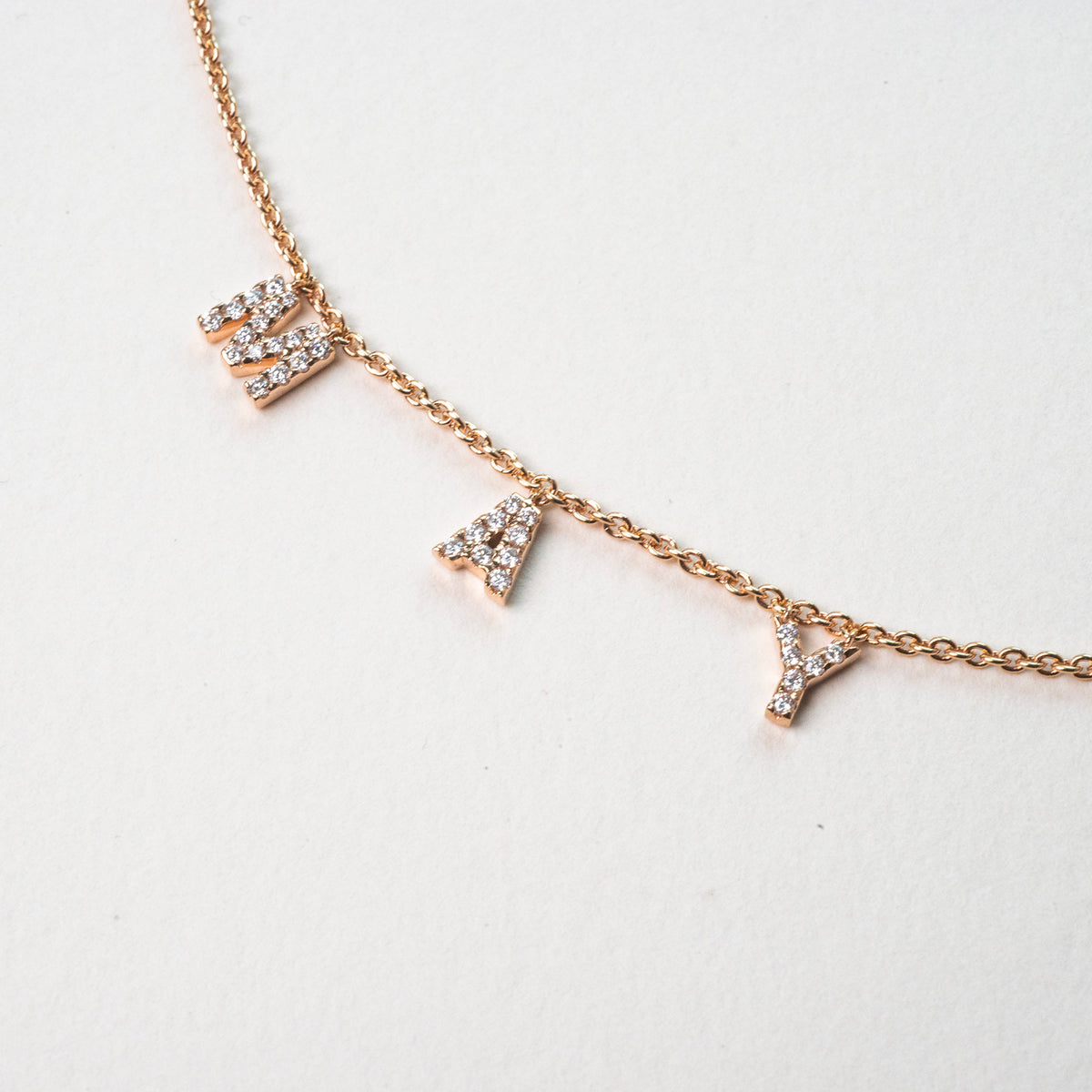 18k Rose Gold Hope Necklace With Diamonds