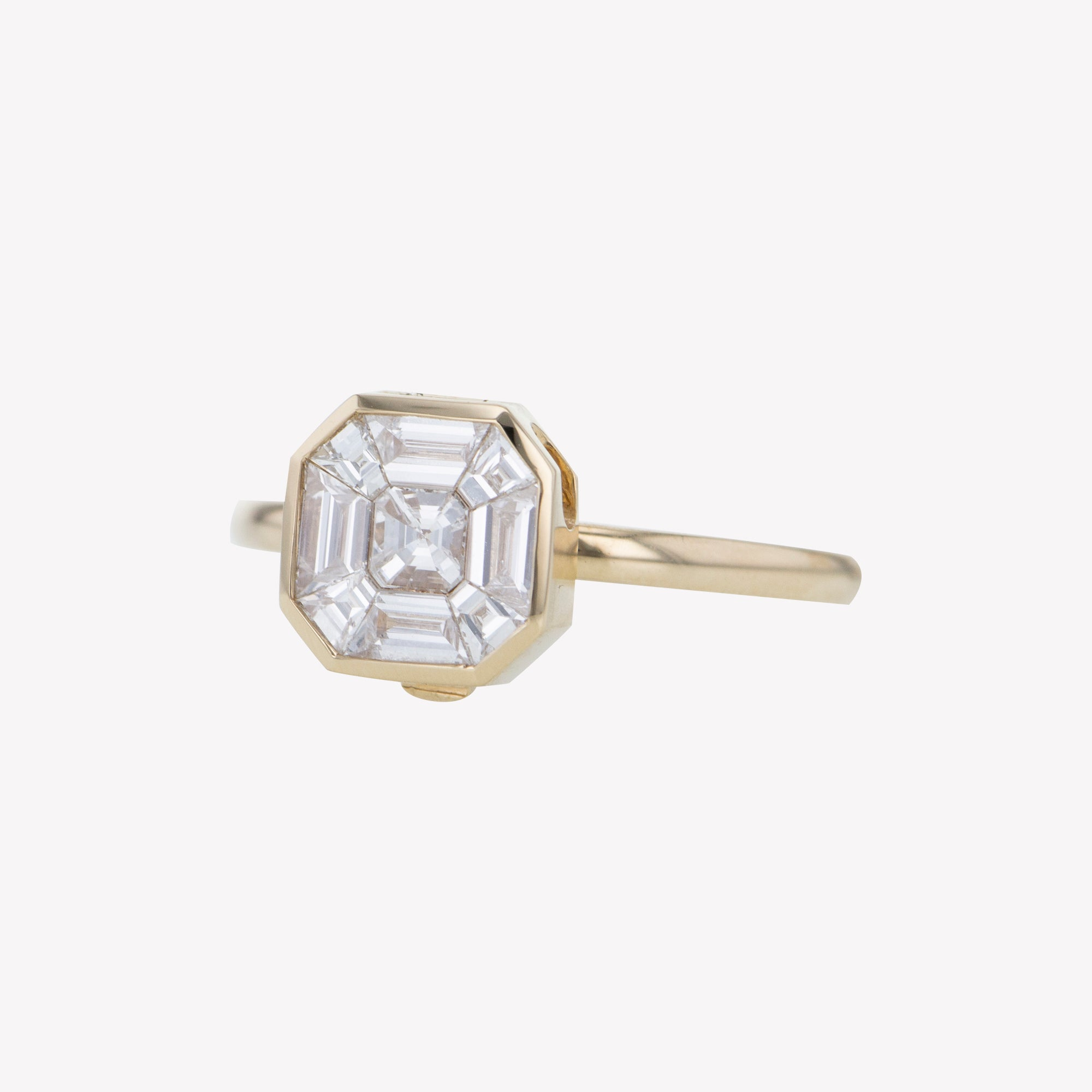 Detachable Yellow Gold Asscher Head with Round Band