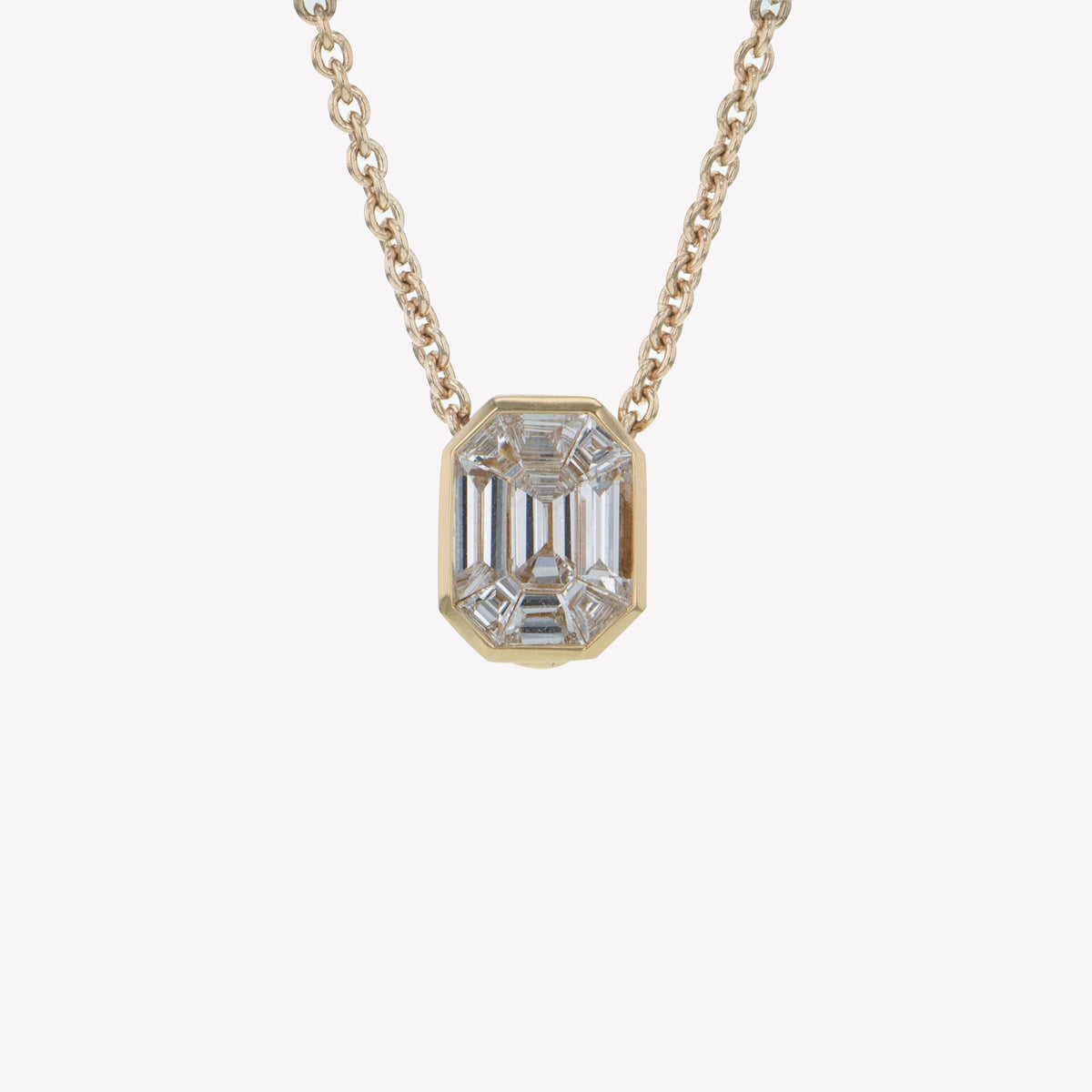 Detachable Yellow Gold Emerald Head with Chain