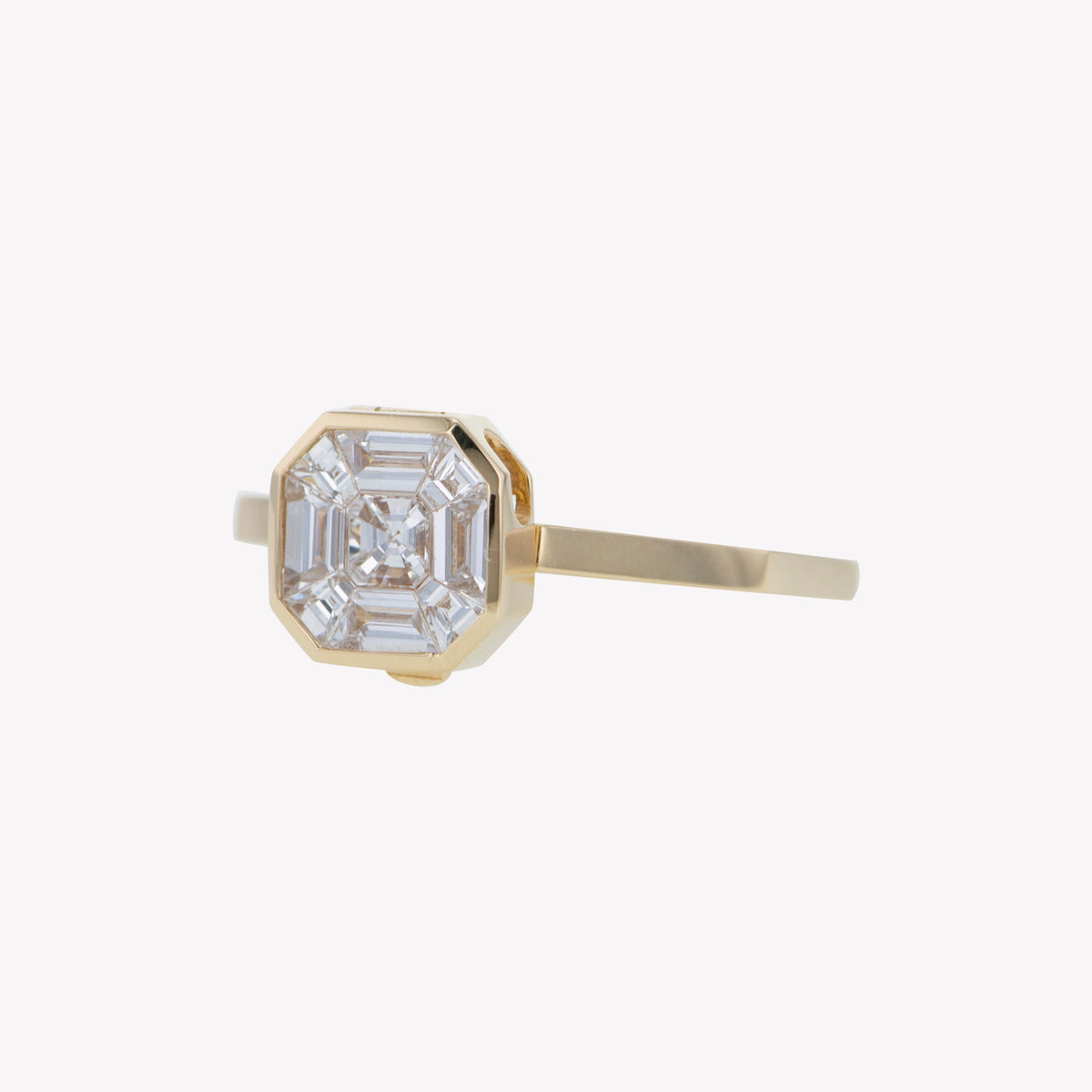 Detachable Yellow Gold Asscher Head with Octa Band