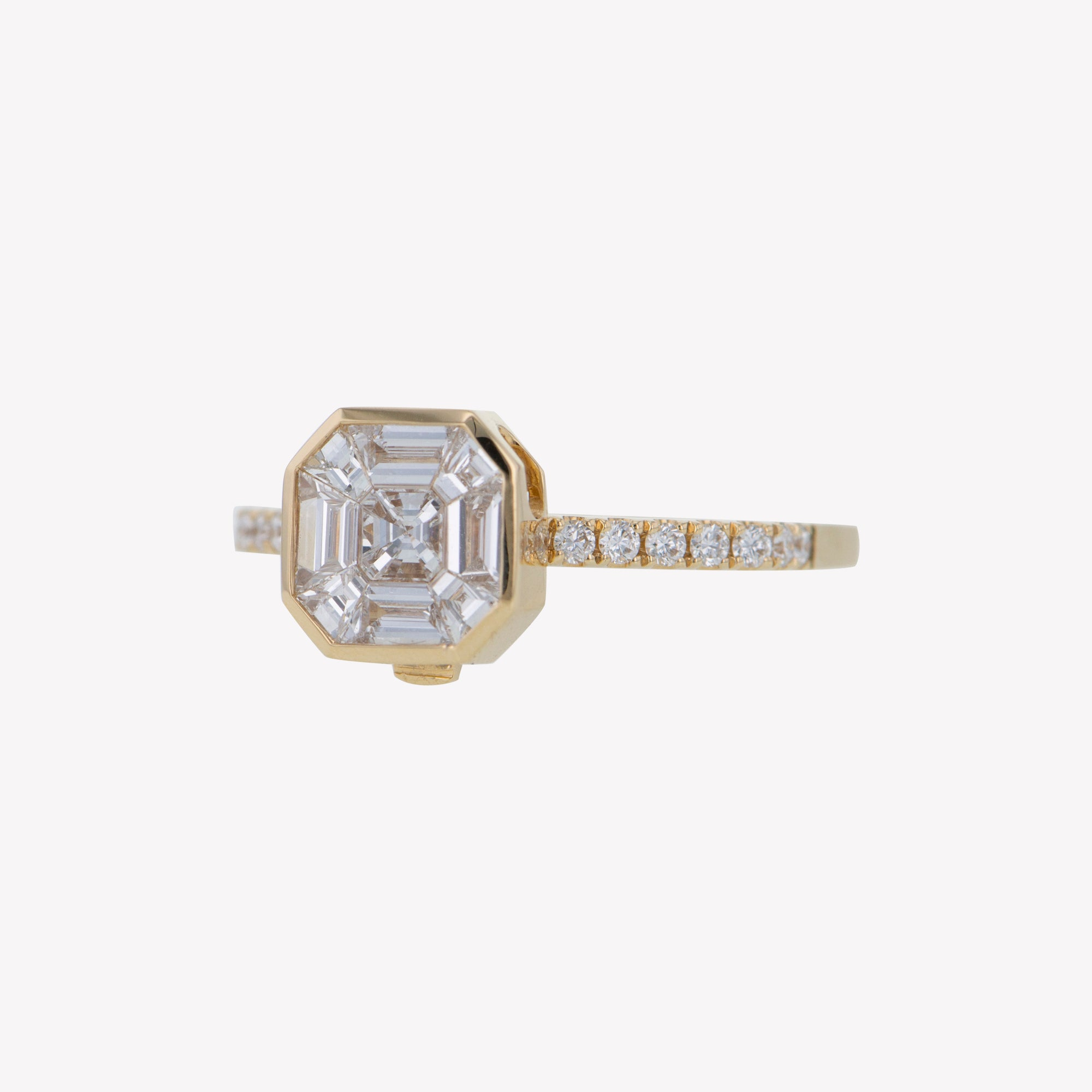 Detachable Yellow Gold Asscher Head with Octa Diamond Band
