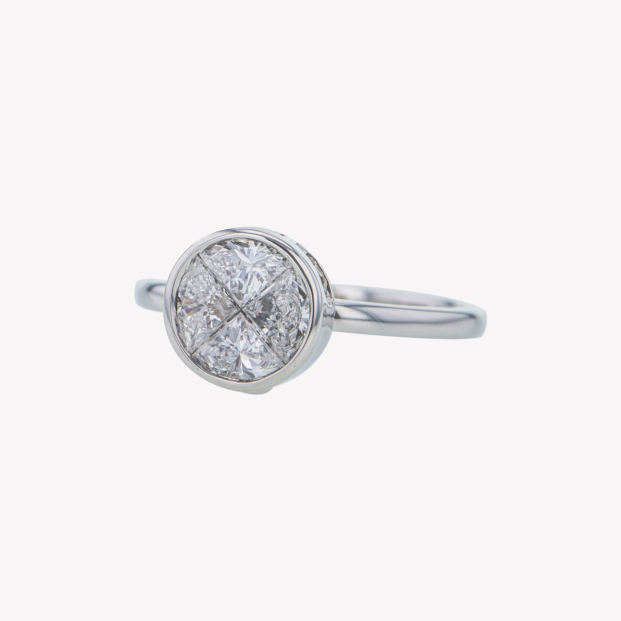 Detachable White Gold Round Head with Round Band
