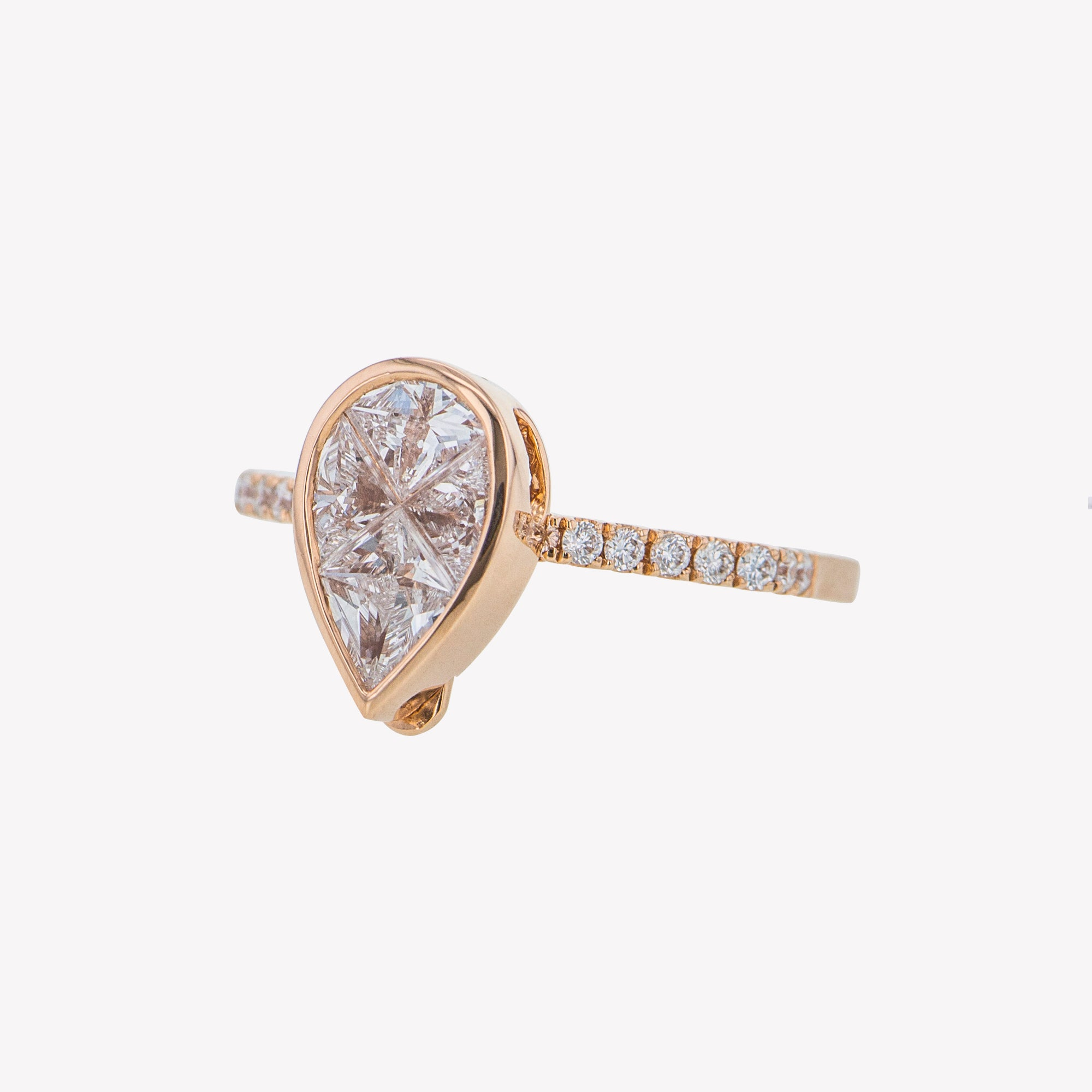 Detachable Rose Gold Pear Head with Octa Diamond Band