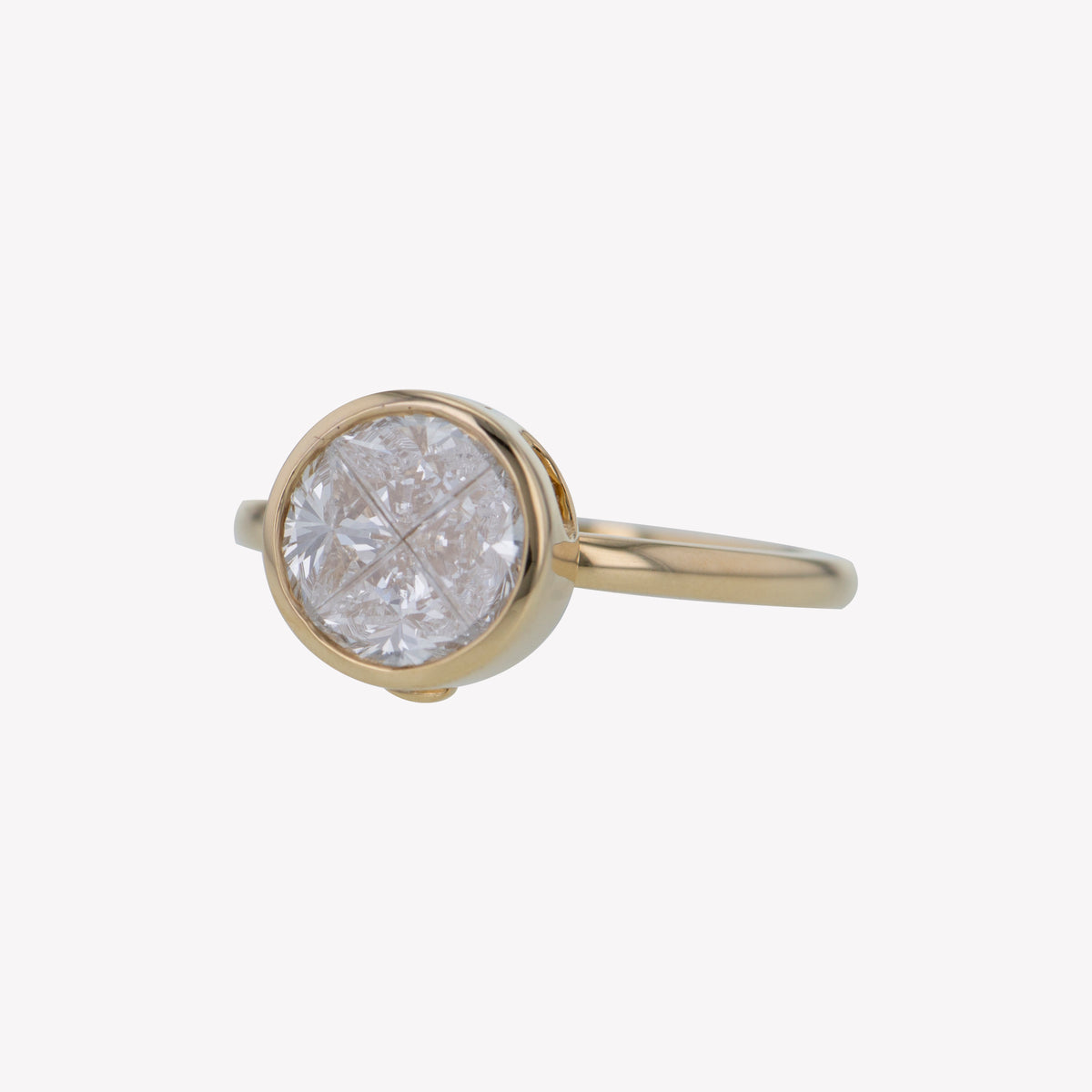 Detachable Yellow Gold Round Head with Round Band