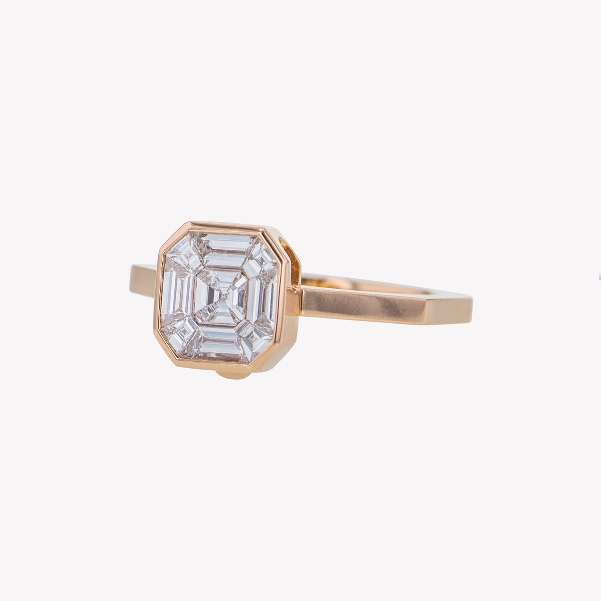 Detachable Rose Gold Asscher Head with Octa Band