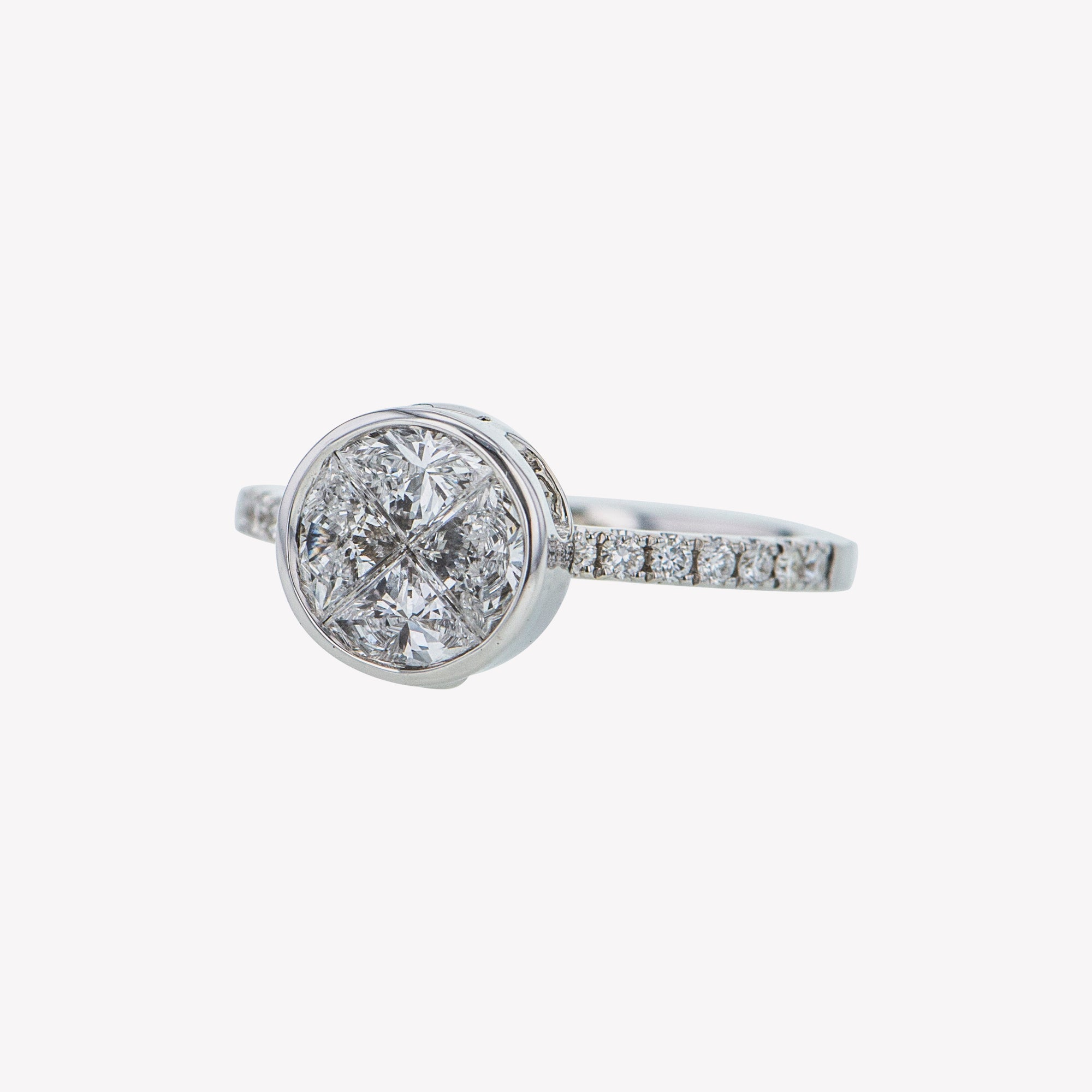 Detachable White Gold Round Head with Round Diamond Band
