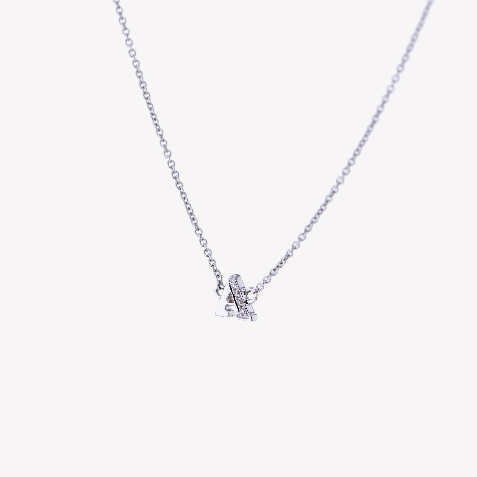 Letter A Diamond Pendant With Chain in White Gold
