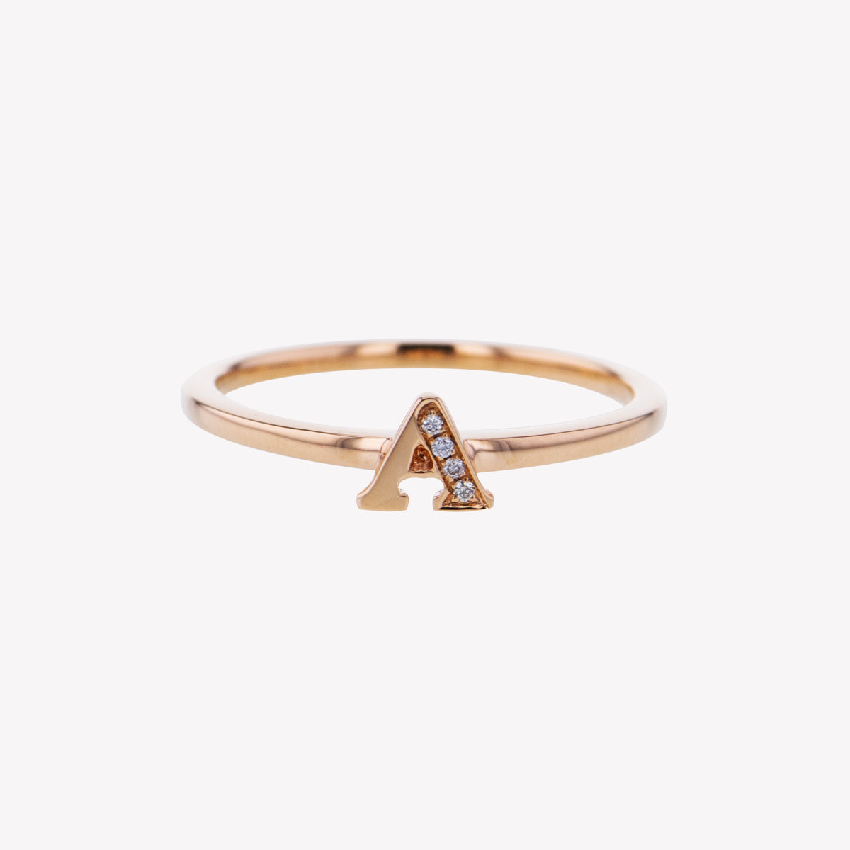 Letter A Diamond Ring in Rose Gold