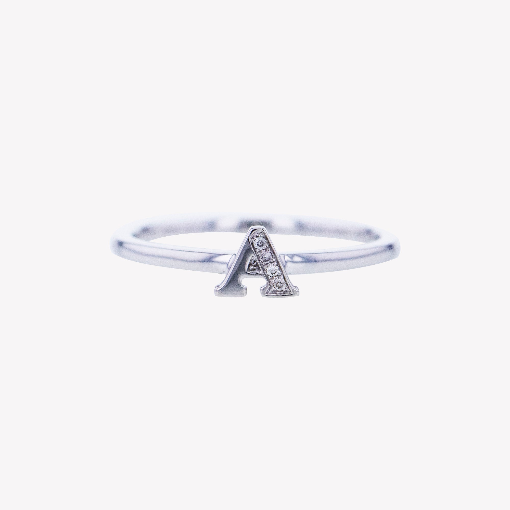 Letter A Diamond Ring in White Gold