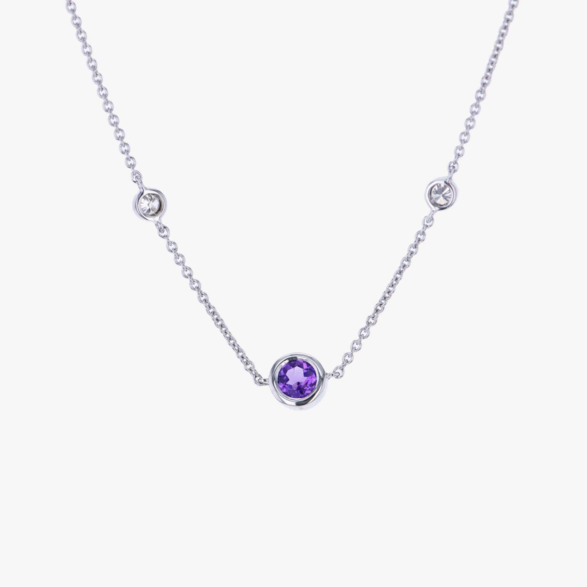18K W/G Amethyst Diamond Pendant With Chain