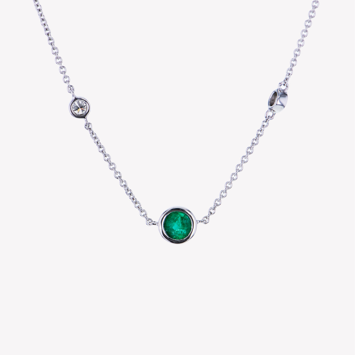18K W/G Emerald Diamond Pendant With Chain