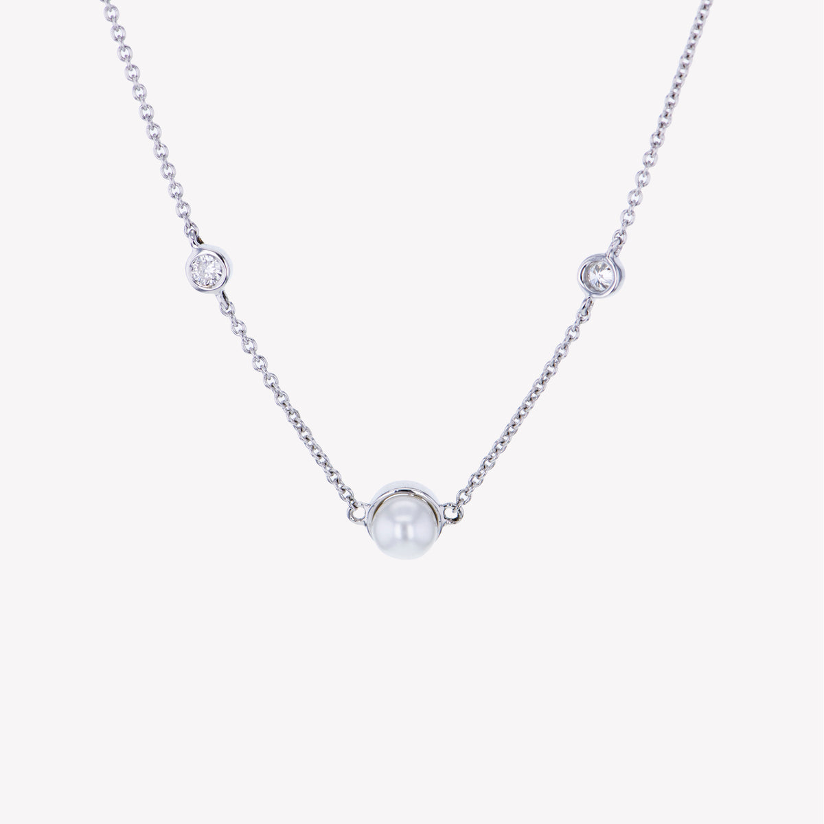 18K W/G Culture Pearl Diamond Pendant With Chain