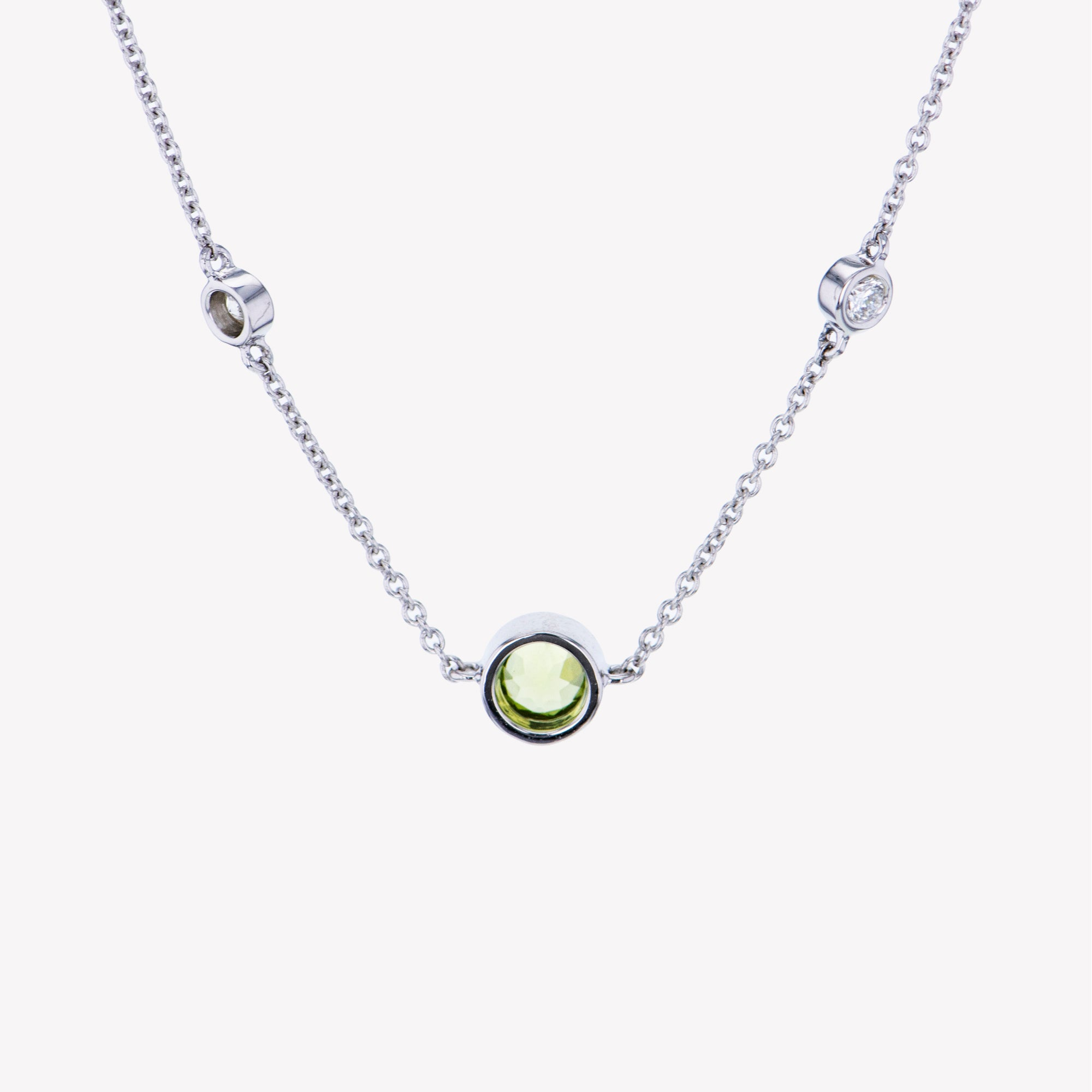18K W/G Peridot Diamond Pendant With Chain