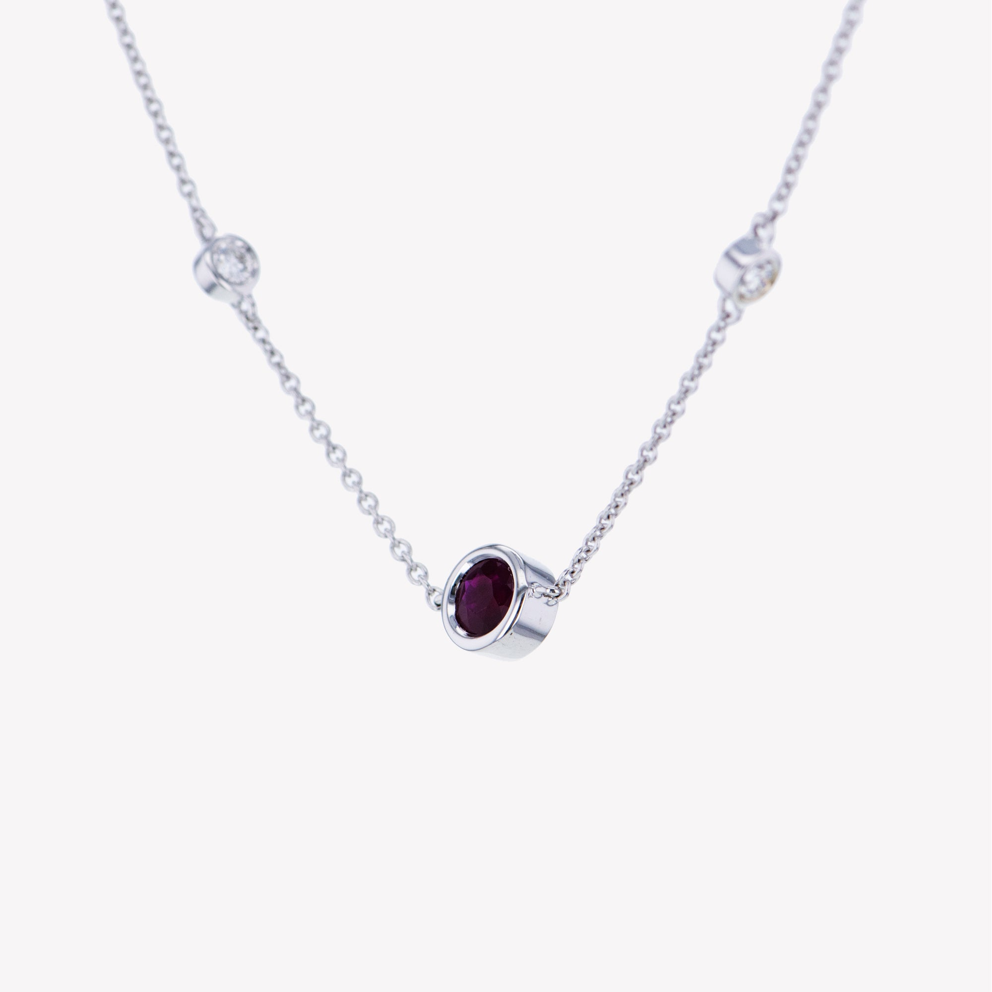 18K W/G Ruby Diamond Pendant With Chain