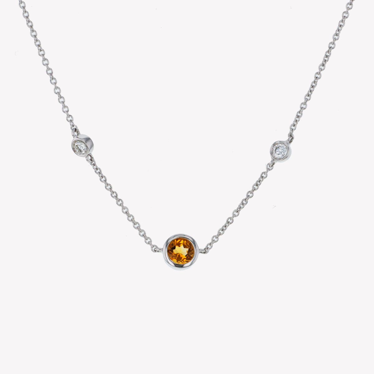 18K W/G Yellow Citrine Diamond Pendant With Chain