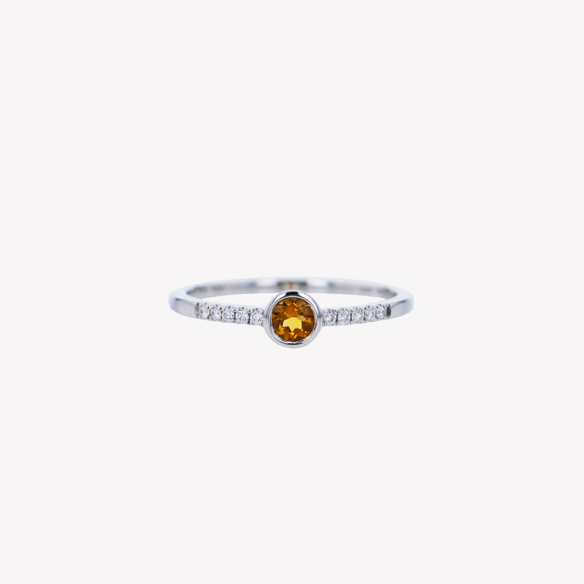 18K W/G Yellow Citrine Diamond Ring