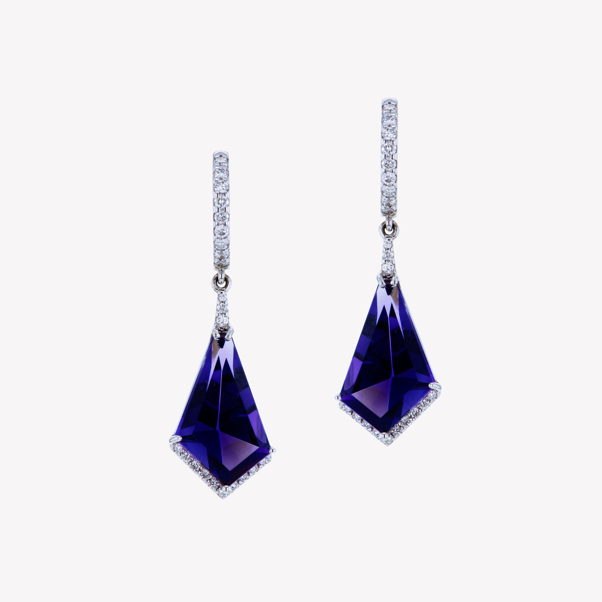 18K W/G Purple Amethyst Diamond Earrings
