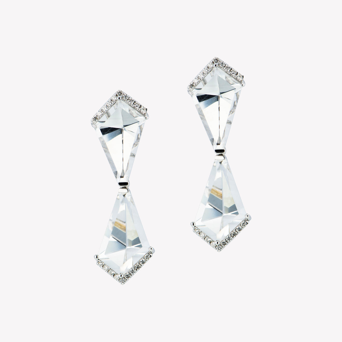 18K W/G White Quartz Diamond Earrings