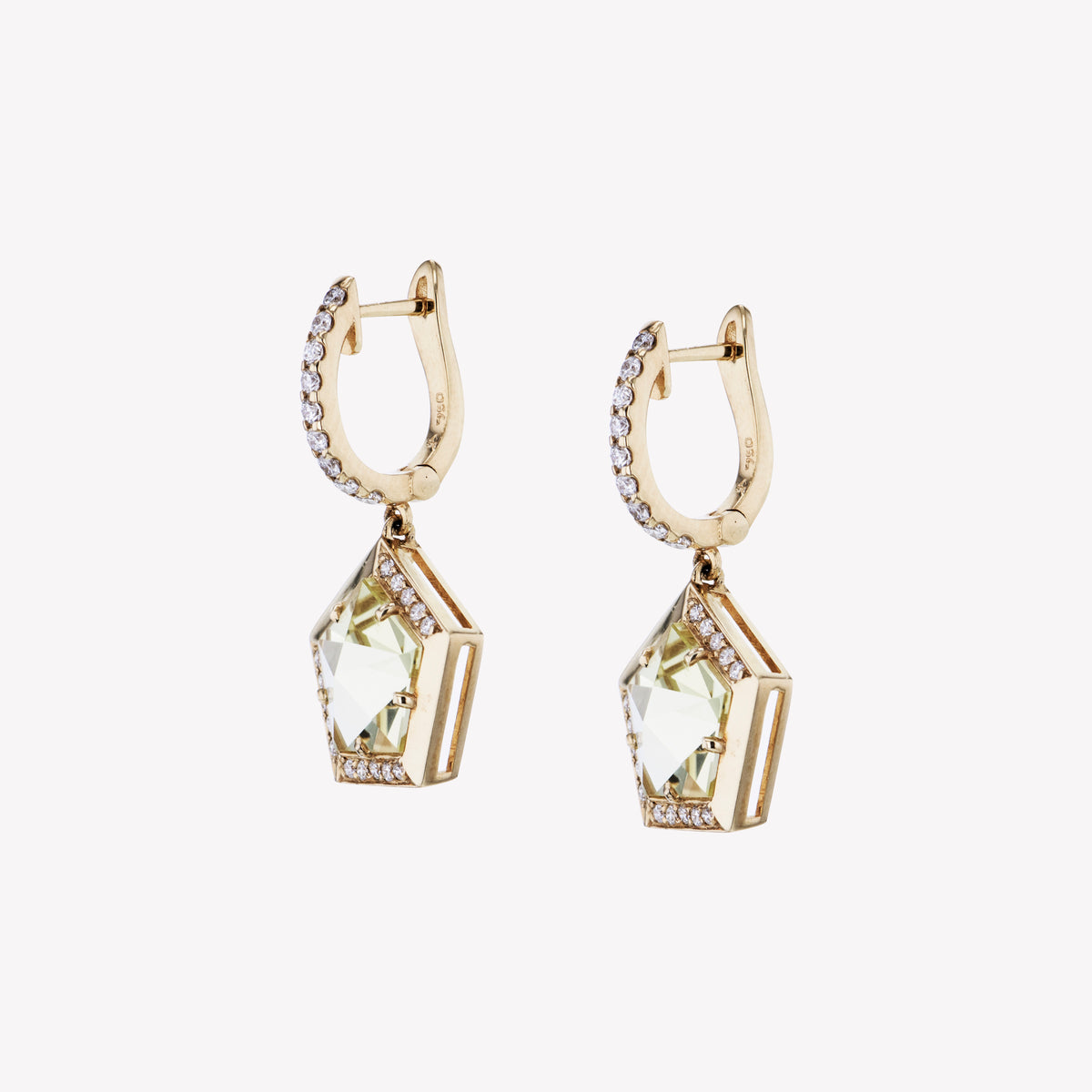 18K Y/G Yellow Quartz Diamond Earrings