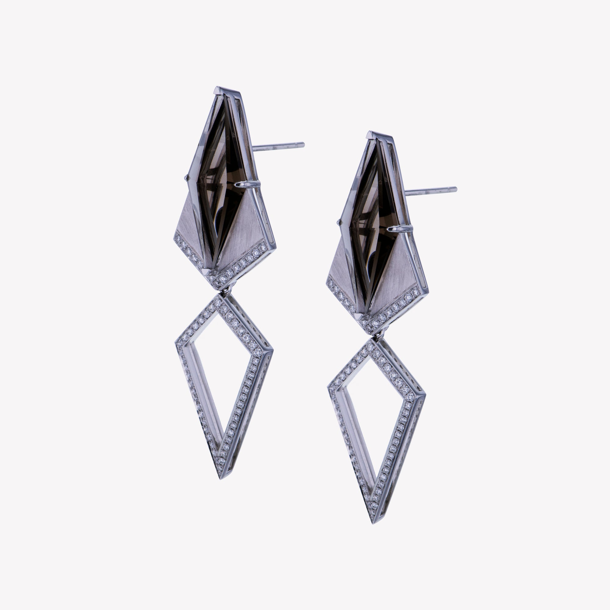 18K W/G Smoky Quartz Diamond Earrings