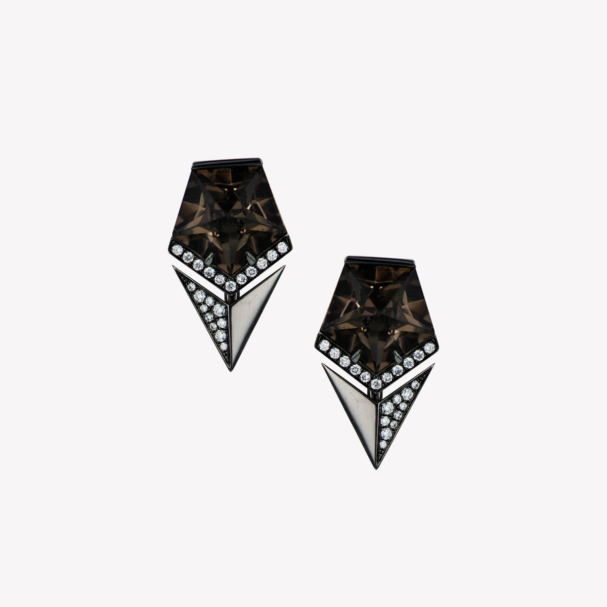 18K B/G Smoky Quartz Diamond Earrings