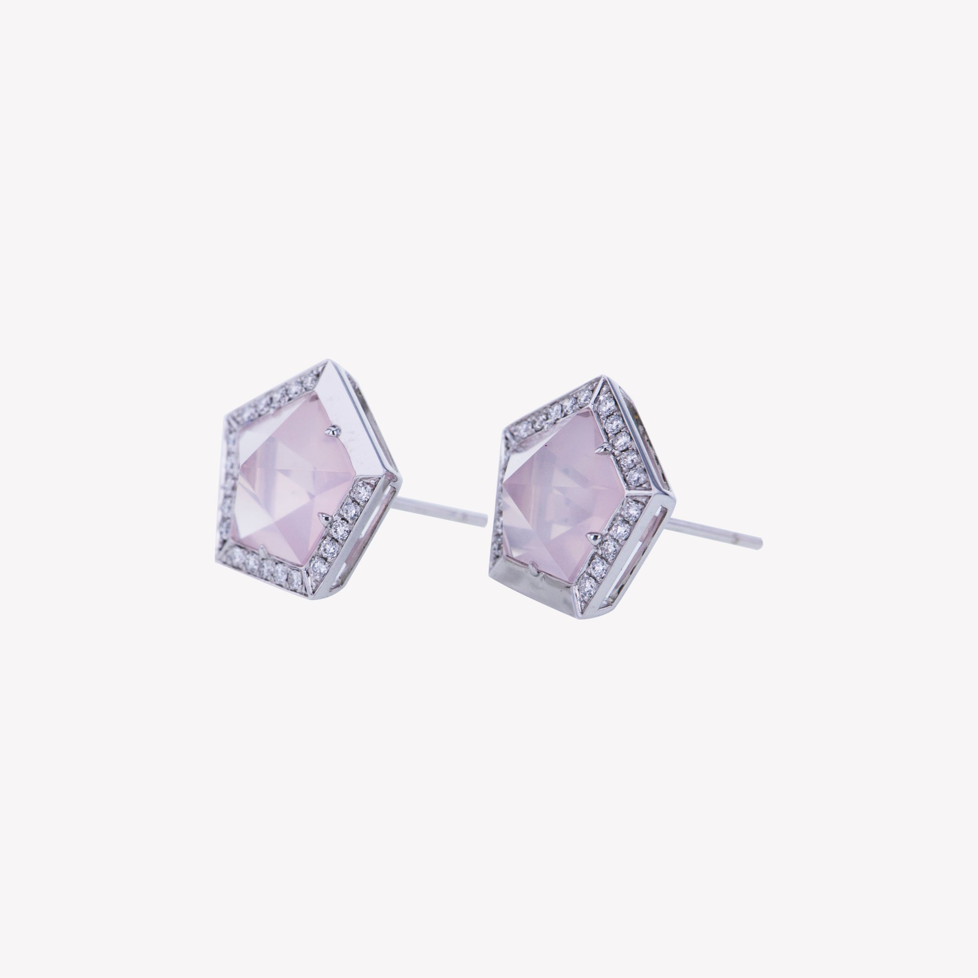 18K W/G Rose Quartz Diamond Earrings