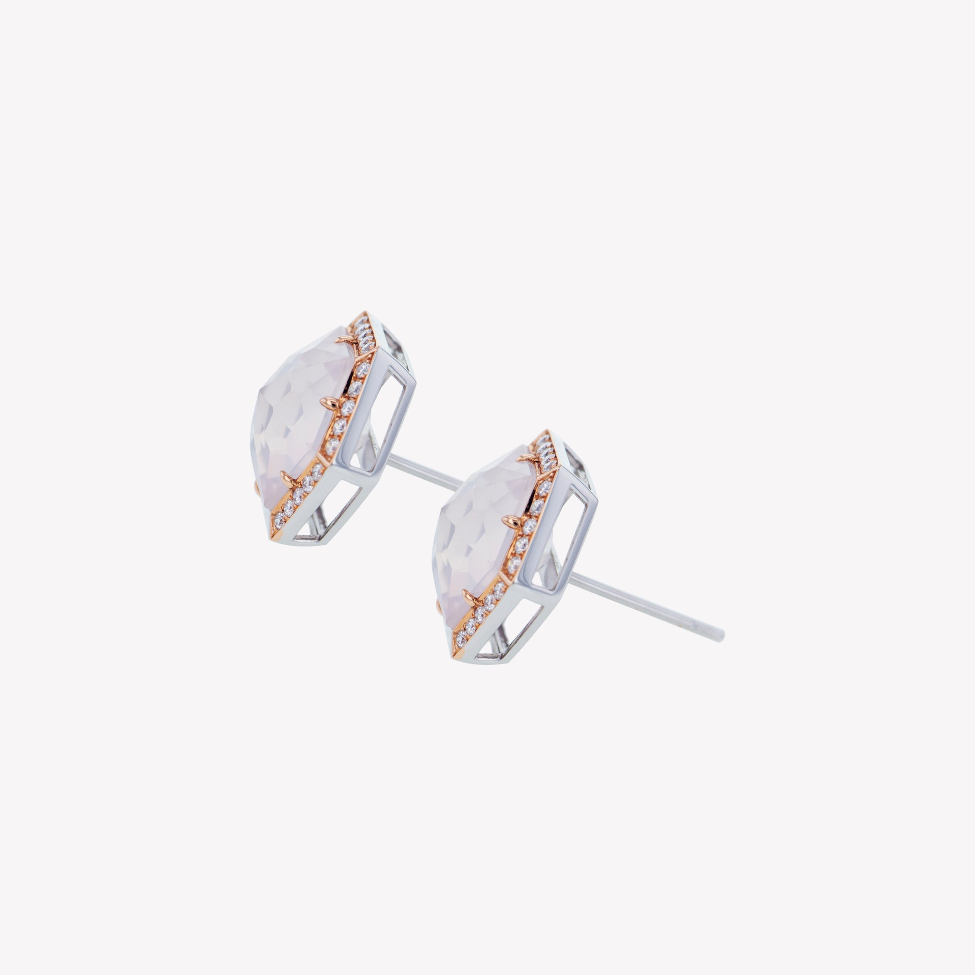 18K W/R/G Rose Quartz Diamond Earrings
